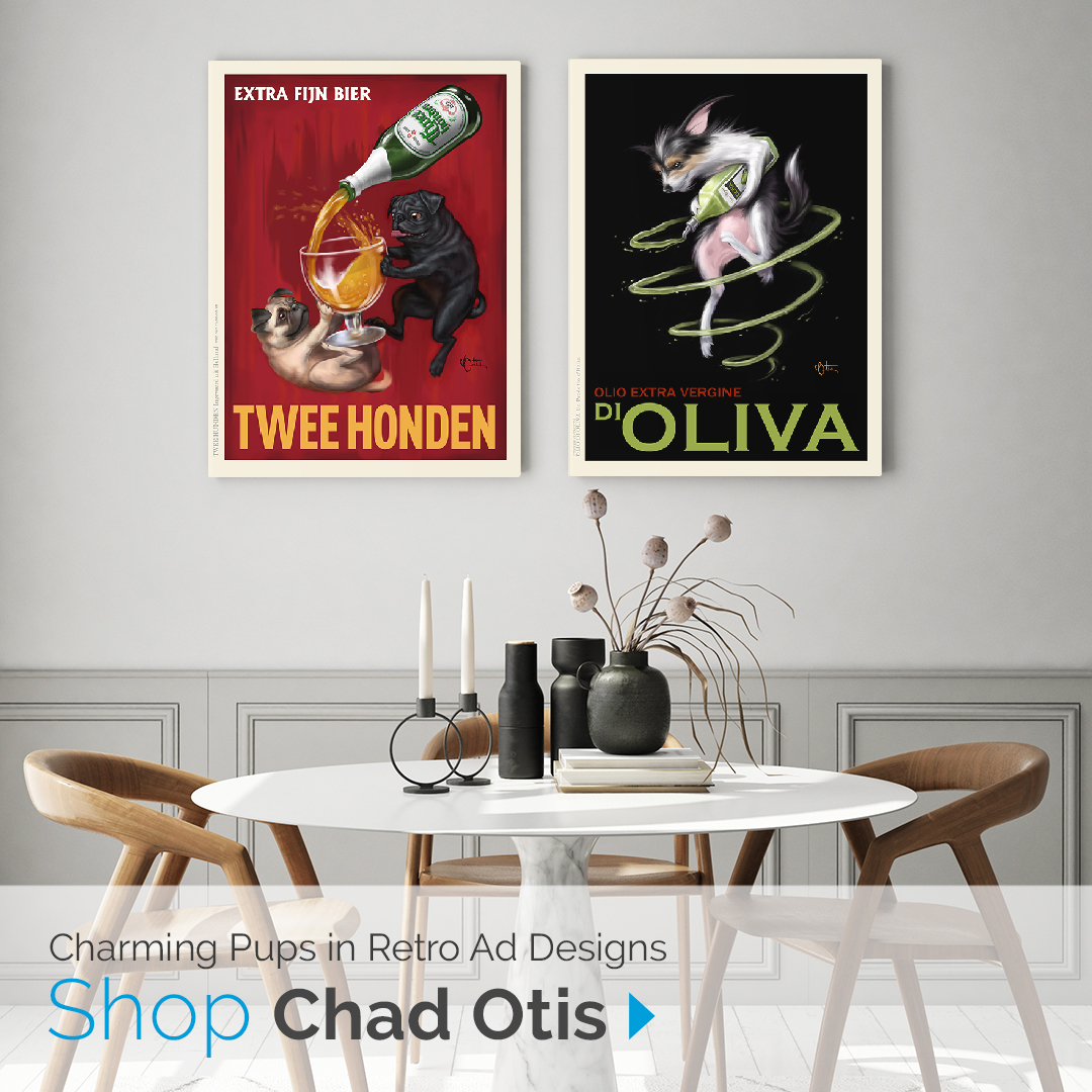 Charming Pups in Retro Ad Designs | Shop Chad Otis